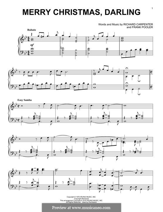 Merry Christmas, Darling (Carpenters): For piano by Frank Pooler, Richard Carpenter