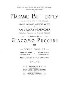 Madama Butterfly : Piano score by Giacomo Puccini