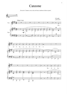 Donzelle, fuggite: For voice and piano (A Major) by Pietro Francesco Cavalli