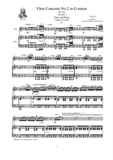 Six Flute Concertos for Flute, Strings and Cembalo, Op.10: Concerto No.2 in G minor 'La Notte'. Version for flute and piano, RV 433 by Antonio Vivaldi