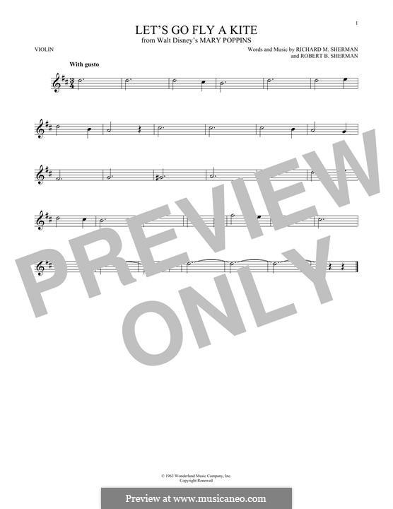 Let's Go Fly a Kite: For violin by Richard M. Sherman, Robert B. Sherman