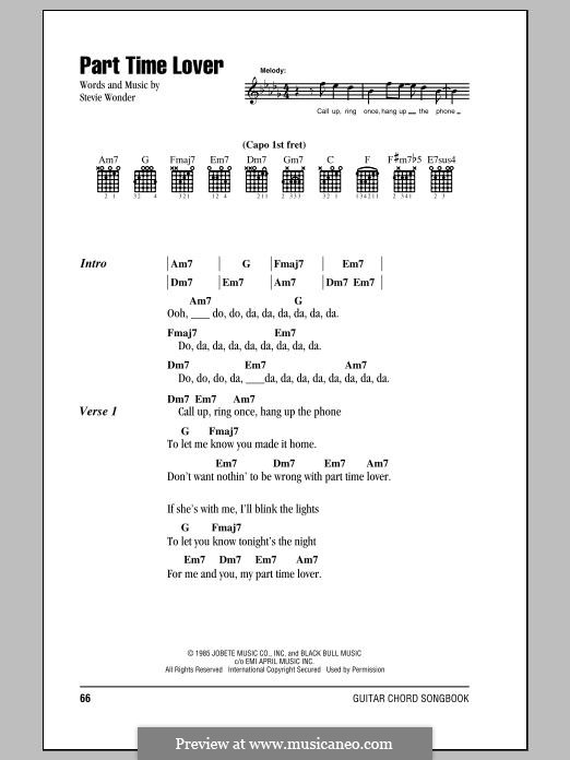 Part-Time Lover: Lyrics and chords by Stevie Wonder