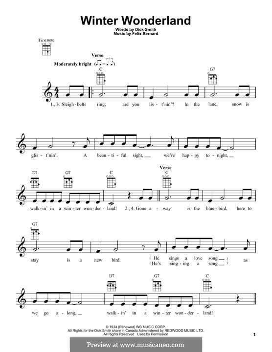Winter Wonderland: For ukulele by Felix Bernard