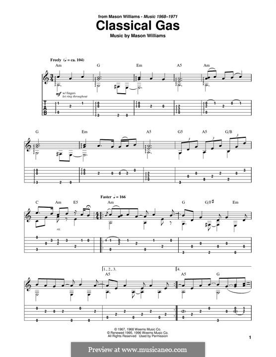 Classical Gas: For guitar with tab by Mason Williams