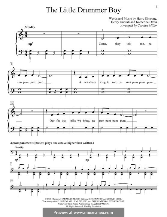 The Little Drummer Boy: For piano by Harry Simeone, Henry Onorati, Katherine K. Davis