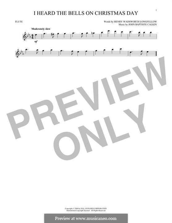 I Heard the Bells on Christmas Day: For flute by John Baptiste Calkin
