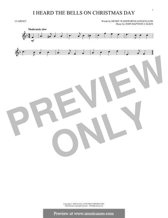 I Heard the Bells on Christmas Day: For clarinet by John Baptiste Calkin