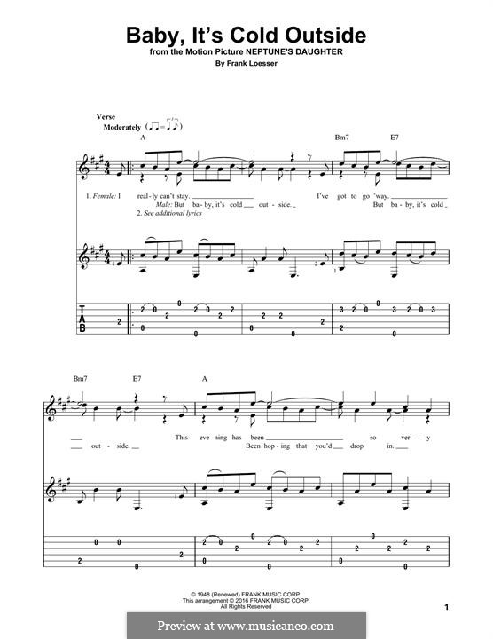 Baby, it's Cold Outside: For guitar with tab by Frank Loesser