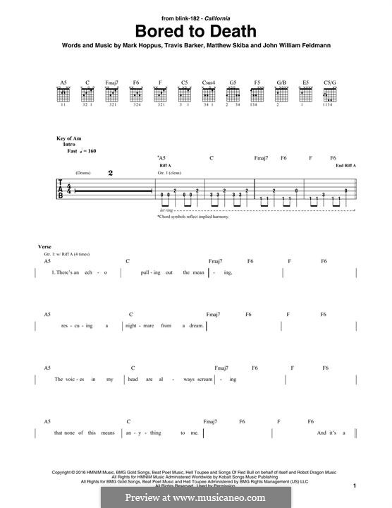 Bored to Death (Blink 182): For guitar with tab by John Feldmann, Mark Hoppus, Travis Barker, Matthew Skiba