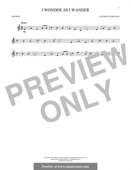 I Wonder as I Wander: For trumpet by John Jacob Niles