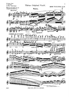 Variations on an Original Theme, Op.15: Solo part by Henryk Wieniawski