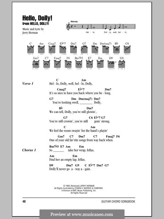 Hello Dolly (Louis Armstrong): Lyrics and chords by Jerry Herman