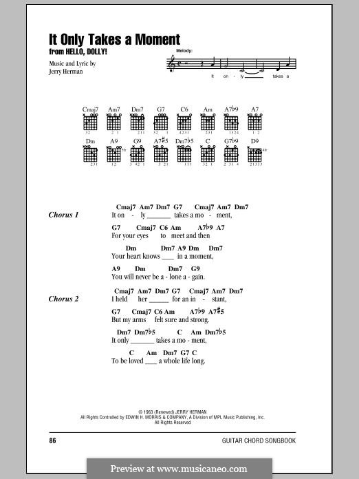 It Only Takes a Moment (Hello Dolly): Lyrics and chords by Jerry Herman