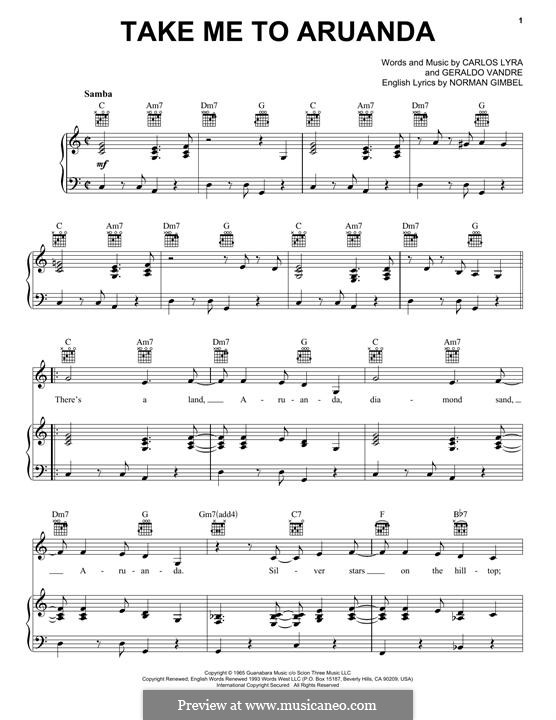 Take Me To Aruanda: For voice and piano (or guitar) by Carlos Lyra, Geraldo Vandre