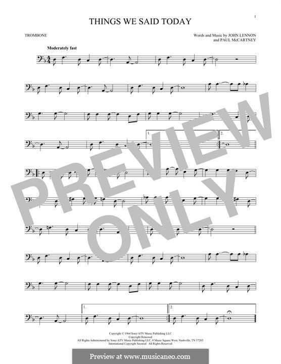 Things We Said Today (The Beatles): For trombone by John Lennon, Paul McCartney