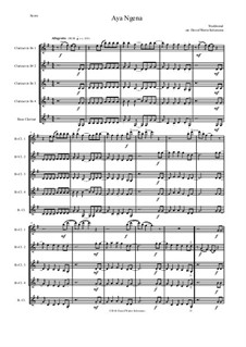 Aya Ngena: For clarinet quintet (4 B flats and 1 bass) by folklore