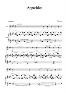Apparition: For voice and piano by Claude Debussy