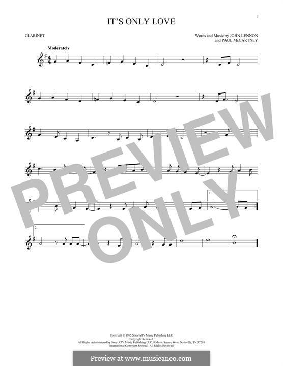It Won't Be Long (The Beatles): For clarinet by John Lennon, Paul McCartney