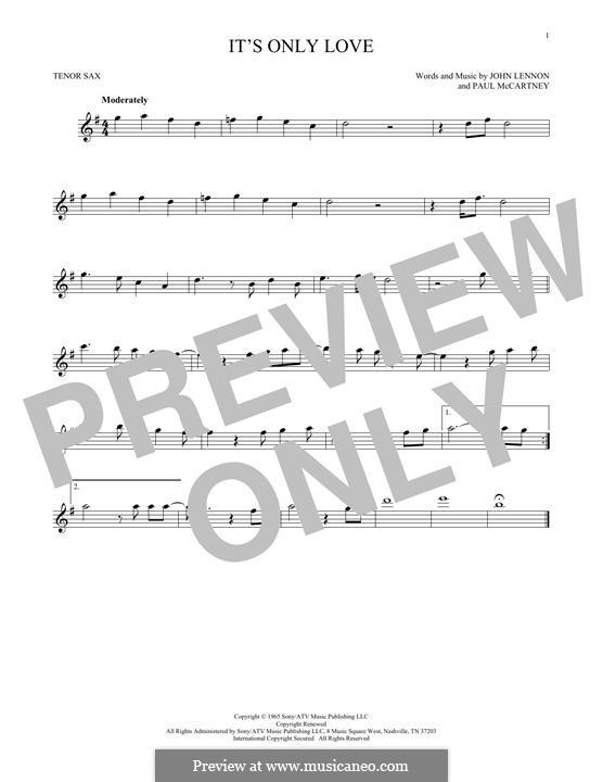 It Won't Be Long (The Beatles): For tenor saxophone by John Lennon, Paul McCartney
