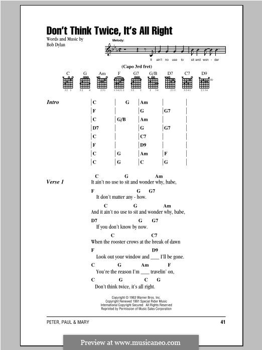 Dont Think Twice Its Alright By B Dylan Sheet Music On Musicaneo