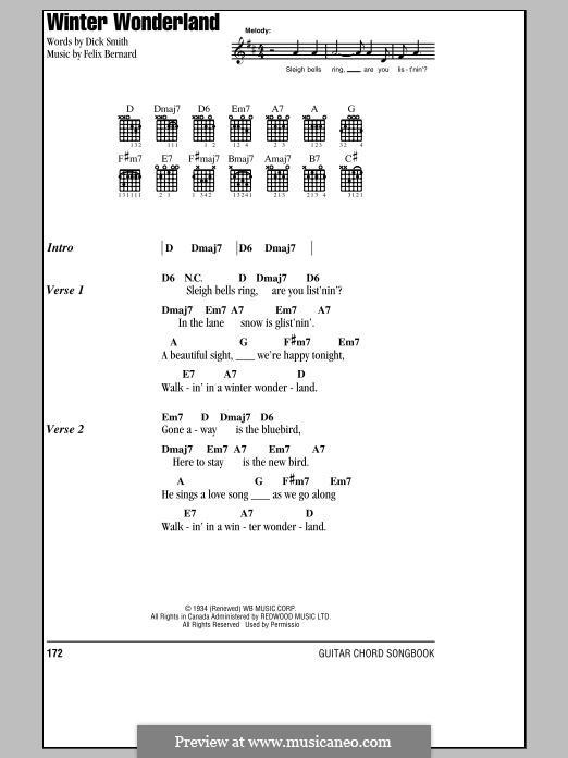 Winter Wonderland: Lyrics and chords by Felix Bernard