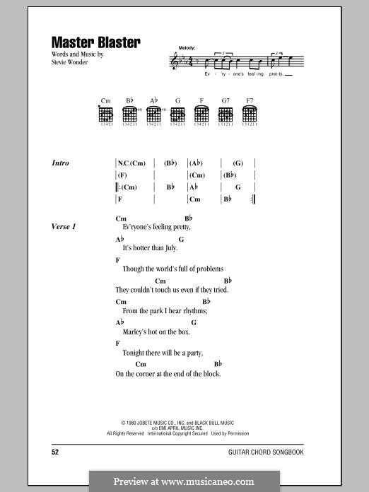 Master Blaster (Jammin'): Lyrics and chords by Stevie Wonder