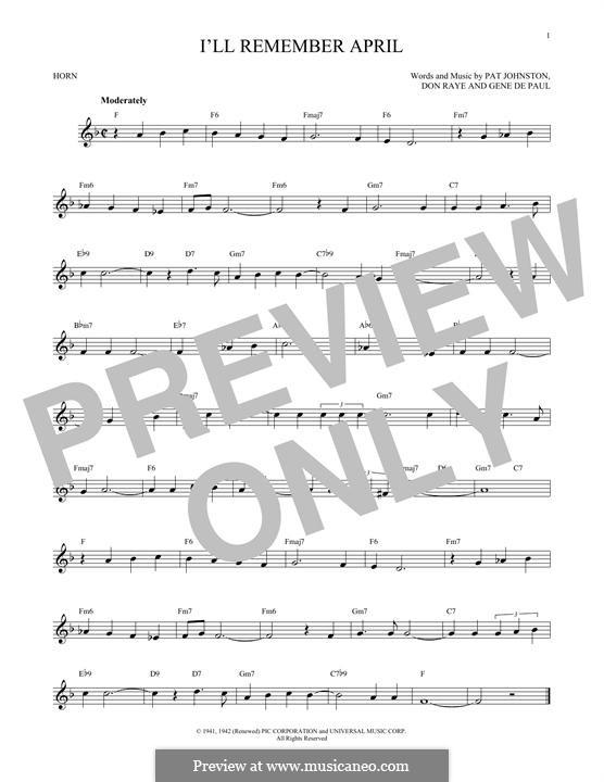 I'll Remember April (Woody Herman): For horn by Don Raye, Gene de Paul, Patricia Johnson