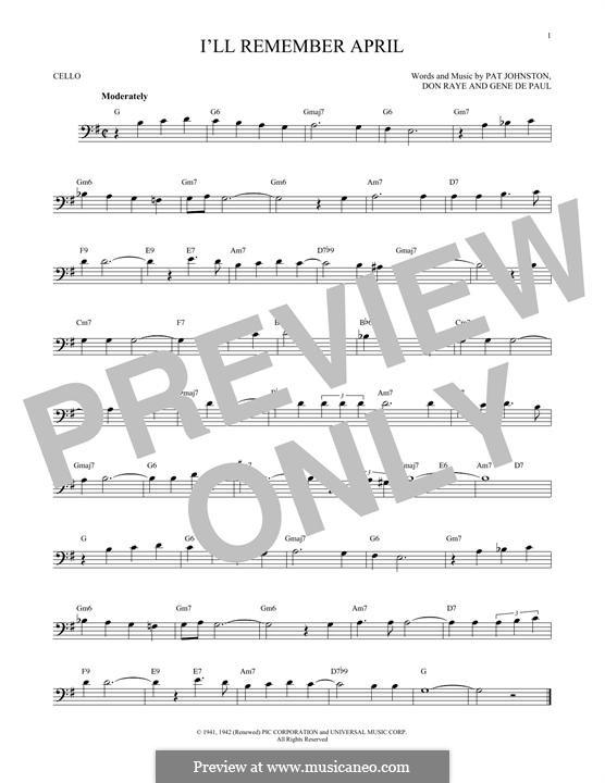I'll Remember April (Woody Herman): For cello by Don Raye, Gene de Paul, Patricia Johnson