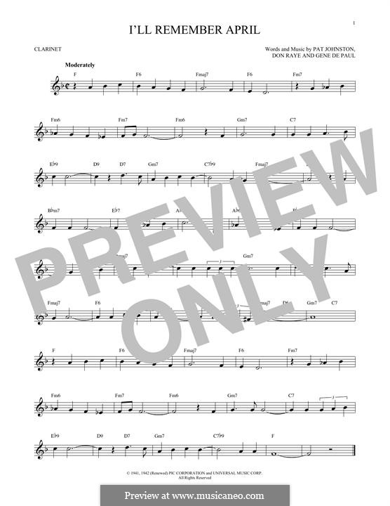I'll Remember April (Woody Herman): For clarinet by Don Raye, Gene de Paul, Patricia Johnson