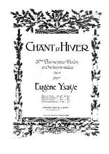 Chant d'hiver. Poem No.3, Op.15: For violin and piano – violin part by Eugène Ysaÿe