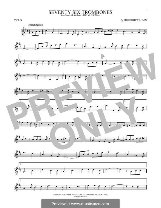 Seventy Six Trombones: For violin by Meredith Willson