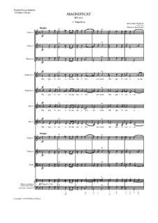 Magnificat in G minor, RV611: SA soli, SSAA choir and small orchestra – score, parts by Antonio Vivaldi