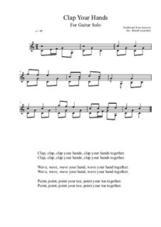 Clap Your Hands: For guitar solo (C Major) by folklore