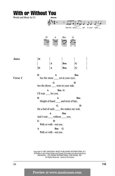 With or without You by U2 - sheet music on MusicaNeo