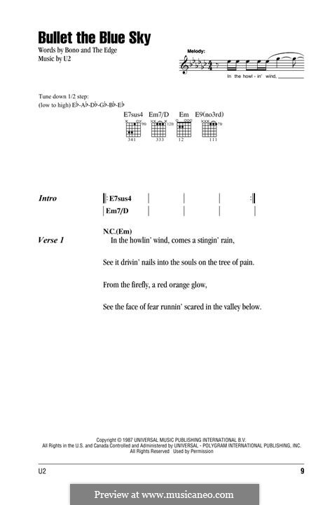 Bullet The Blue Sky By U2 Sheet Music On Musicaneo