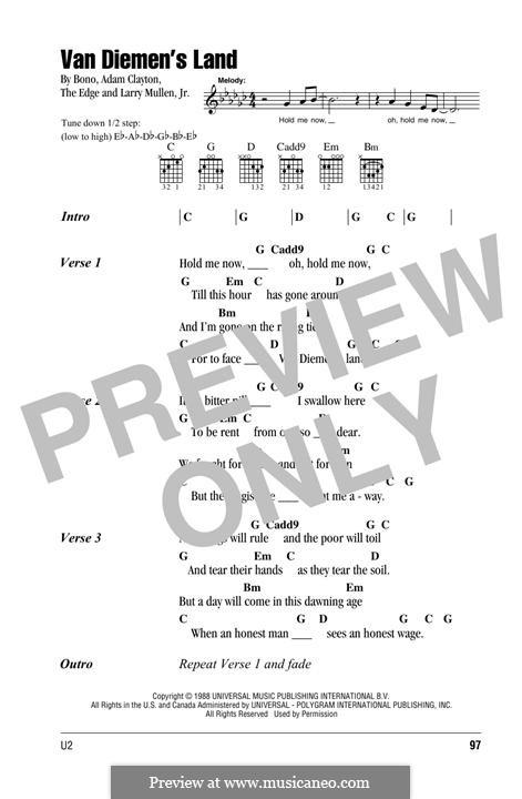 Van Diemen's Land (U2): Lyrics and chords by Bono, Adam Clayton, Larry Mullen Jr., The Edge
