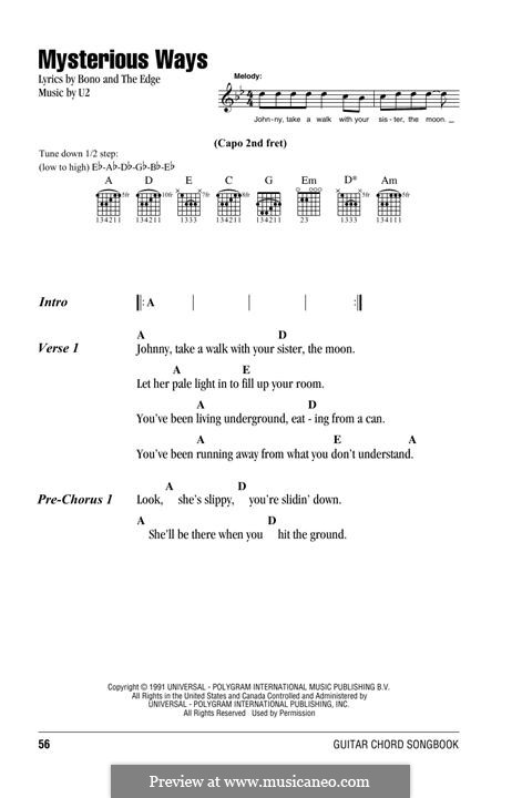 Mysterious Ways: Lyrics and chords by U2