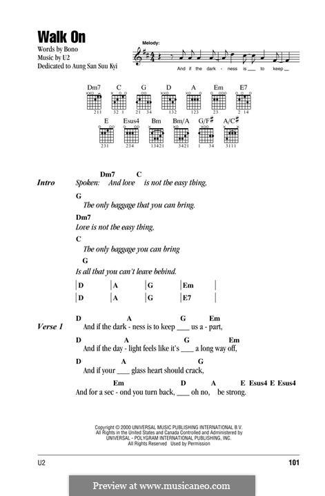 Walk on: Lyrics and chords by U2