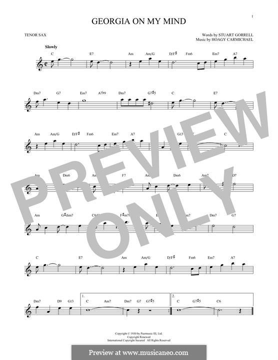 Georgia on My Mind: For tenor saxophone by Hoagy Carmichael