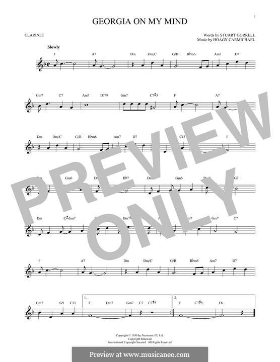 Georgia on My Mind: For clarinet by Hoagy Carmichael