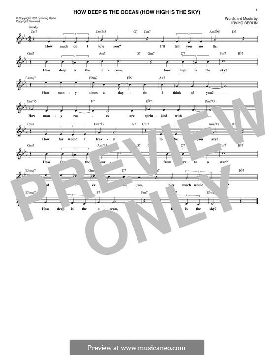 How Deep is the Ocean (How High is the Sky): Lyrics and chords by Irving Berlin