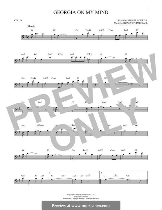 Georgia on My Mind: For cello by Hoagy Carmichael