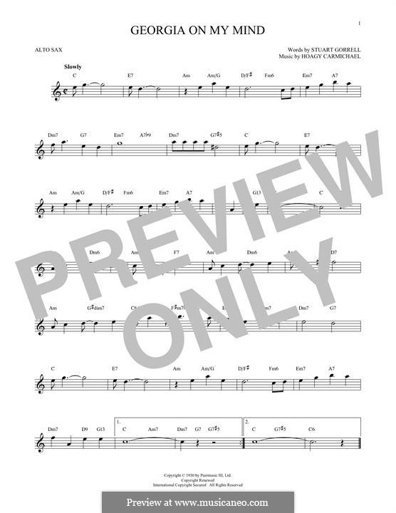 Georgia on My Mind: For alto saxophone by Hoagy Carmichael
