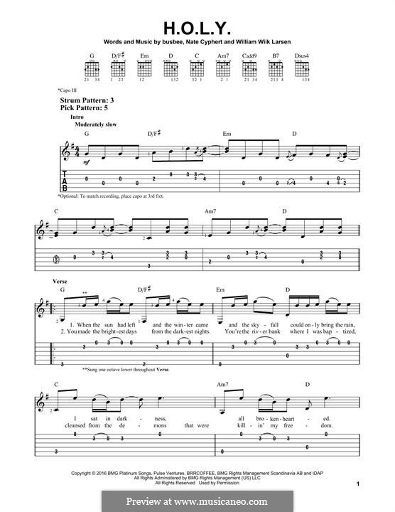 H.O.L.Y. (Florida Georgia Line): For guitar with tab by Busbee, William Larsen, Nate Cyphert