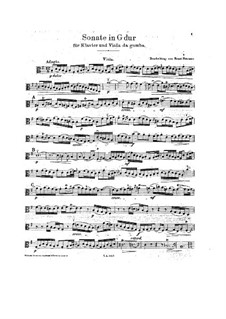 Three Sonatas for Viola da gamba and Harpsichord, BWV 1027-1029: Solo part by Johann Sebastian Bach