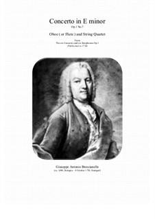12 concerti e sinphonie, Op.1: Concerto No.7 in E minor for oboe (or flute) and string quartet by Giuseppe Antonio Brescianello