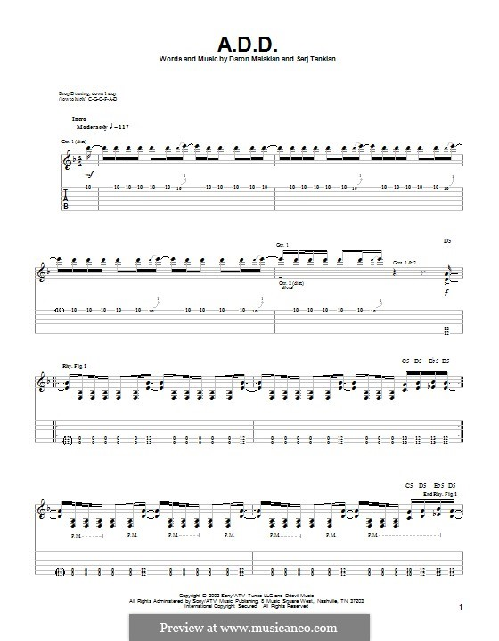 A.D.D. (System of a Down): For guitar with tab by Daron Malakian, Serj Tankian