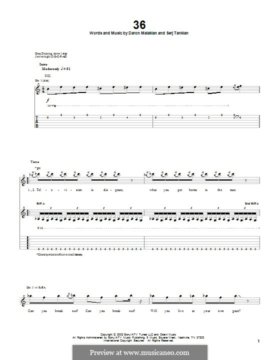 36 (System of a Down): For guitar with tab by Daron Malakian, Serj Tankian