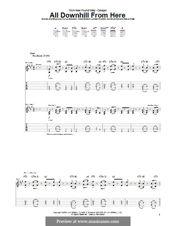 All Downhill from Here (New Found Glory): For guitar with tab by Chad Gilbert, Cyrus Bolooki, Ian Grushka, Jordan Pundik, Stece Klein