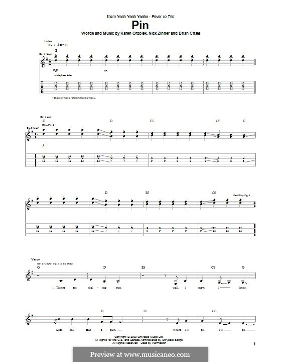 Pin (Yeah Yeah Yeahs): For guitar with tab by Brian Chase, Karen O, Nicholas Zinner